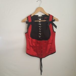 Hell Bunny Underbust Red And Black Corset
